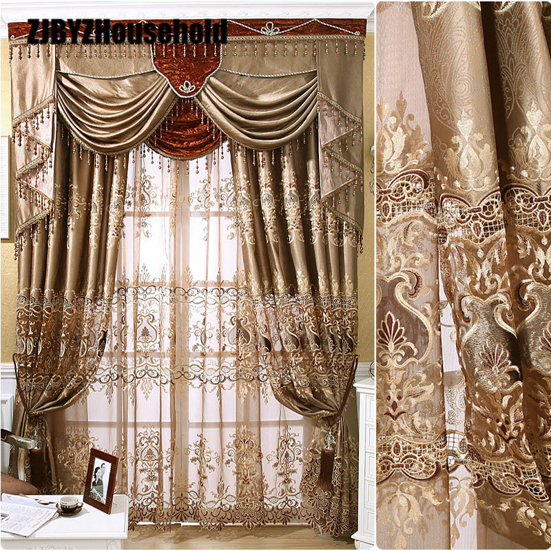 High Precision Stereo Embroidery Curtain, Curtains For Living Dining Bedroom Hollow Valance