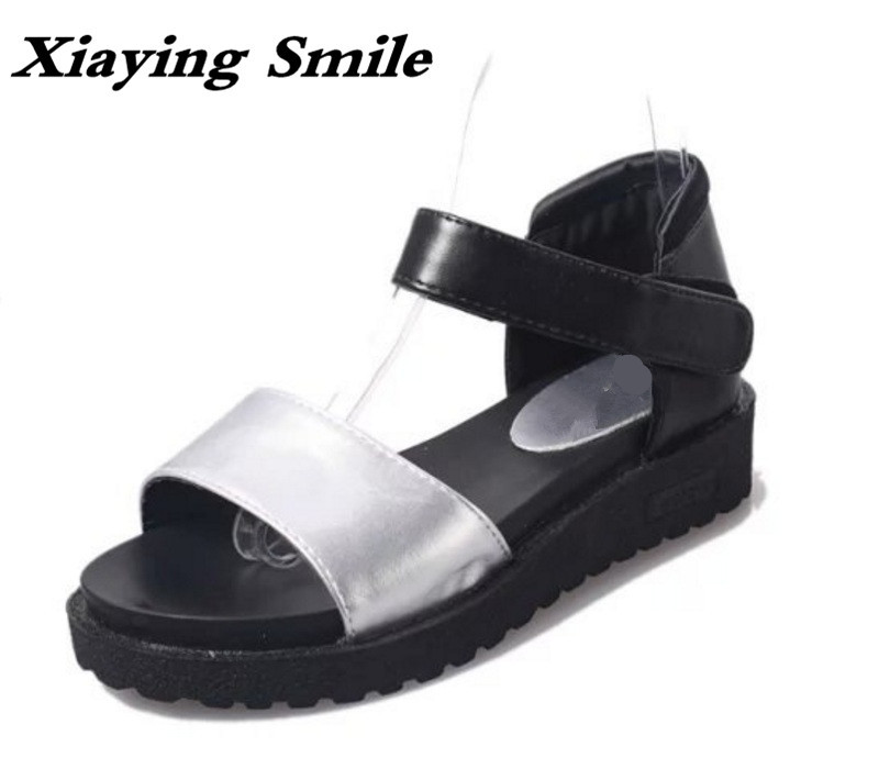 Xiaying Smile Summer New Woman Sandals Casual Fashion Women Flats Black White Shallow Solid Student Loop Thick Sole Women Shoes xiaying smile summer woman sandals fashion women pumps square cover heel buckle strap fashion casual concise student women shoes