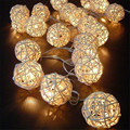 LED Battery String Lights 3M 20pcs White Handmade Rattan Balls String Lights Fairy Party Wedding Patio Christmas Decor