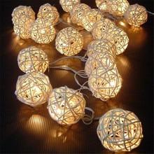 LED Battery String Lights 3M 20pcs White Handmade Rattan Balls String Lights Fairy Party Wedding Patio Christmas Decor