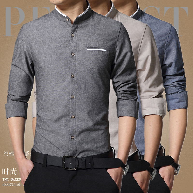 Aliexpress.com   Buy 1pcs Men s shirts plus size 2019 Spring Fashion Pure  cotton long sleeve Mandarin Collar dress shirts Men Casual shirts overhemd  from ... 0e4248fd868a
