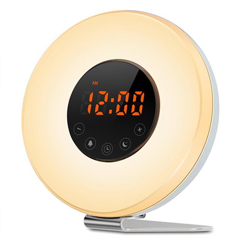 Недавно Wake Up Light с Sunrise Sunset моделирования радио светодиодный Ночные огни Повтор Функция будильник