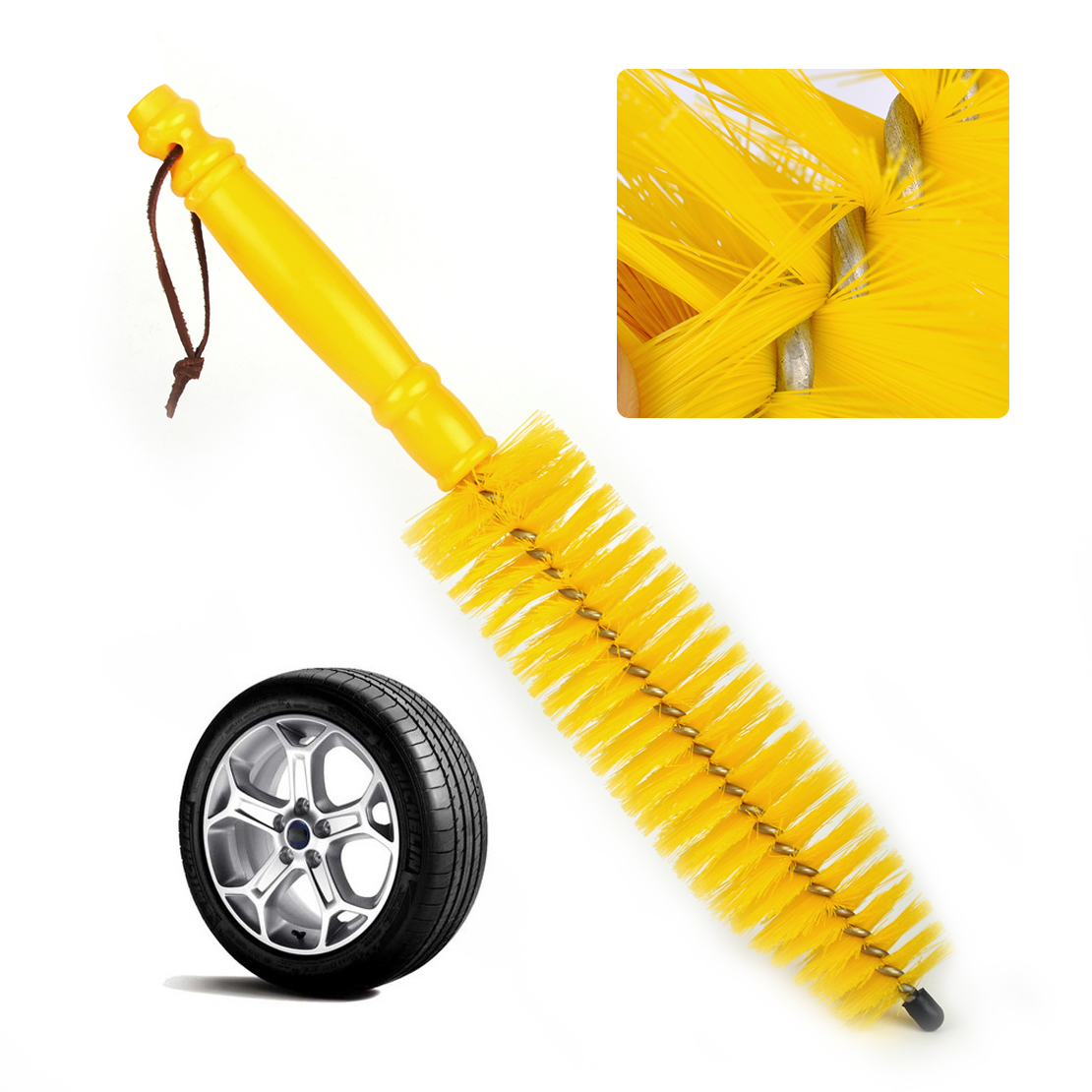 CITALL Car Auto Vehicle Motorcycle Wheel Tyre Tire Rim Hub Long Brush Scrub Cleaner Wash Cleaning Tool Yellow