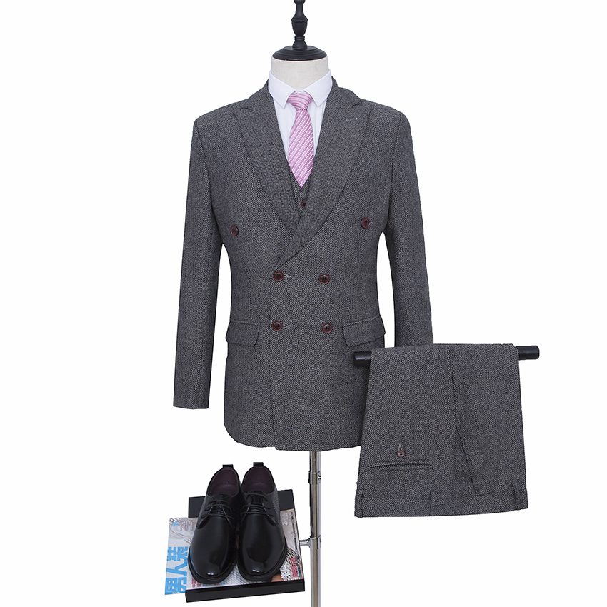 Grey Wedding suit Double Breasted Groom Tuxedos Harringbone Blazer for Groomsman Suit Custom Made Man Suit (Jacket+pants+vest)