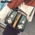 Vintage Women Handbags Shell Embroidery Flower Shape Shoulder Bag Female PU Patchwork Messenger Bags 3 Colors NEW