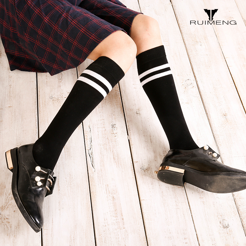 RUIMENG high quality Ladies sexy thigh high over the knee socks Fashion stripes thick warm boots leather stocking leg warmers