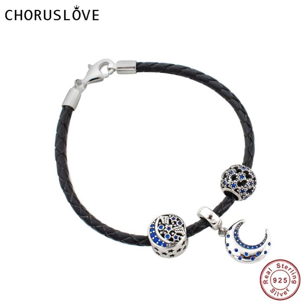 Choruslove черный кожаный плетеный браслет со Звездной подвеской Ночь из стерлингового серебра 925 пробы с застежкой лобстером для подарка на де