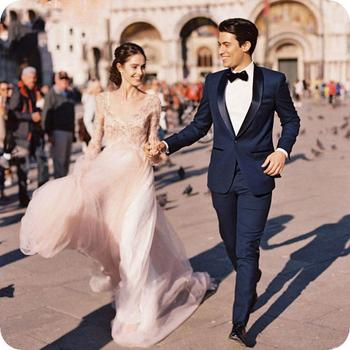 High Quality One Button Navy Blue Groom Tuxedos Shawl Lapel Groomsmen Men Blazers Suits (Jacket+Pants+Tie) NO:446