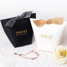 50/100pcs Kraft Paper Gift Bag BronzingMerciThank You Boxes Wedding Favors and Gifts Box Party Supplies Baby Shower Decor