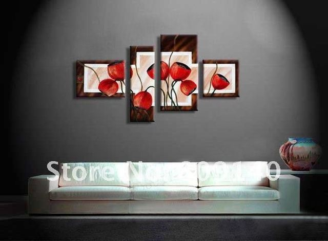 Free Shipping Abstract Oil Painting Canvas Red Flower High Quality