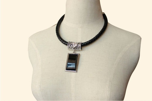 European Hot Acrylic Synthetic Square Gem Pendant Leather Braided Necklace Choker Vintage2013 women