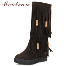 Meotina Winter Knee High Boots Women Fringe Height Increasing Long Boots String Bead Round Toe Shoes Lady Autumn Big Size 34-43