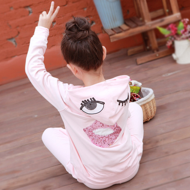 2016 character tracksuits children clothing for girls kids hooded hoodies coats pants girl clothes suits gray pink sports sets