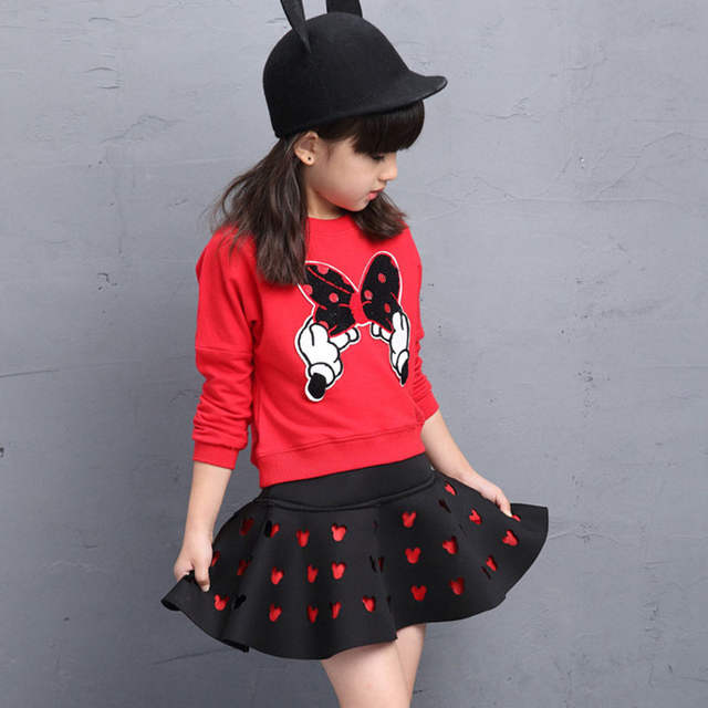 31f61867fa5 Kids Girls Clothes 2016 Brands Minnie Toddler Girls Clothing Sets Back To  School Outfit Girls Skirt