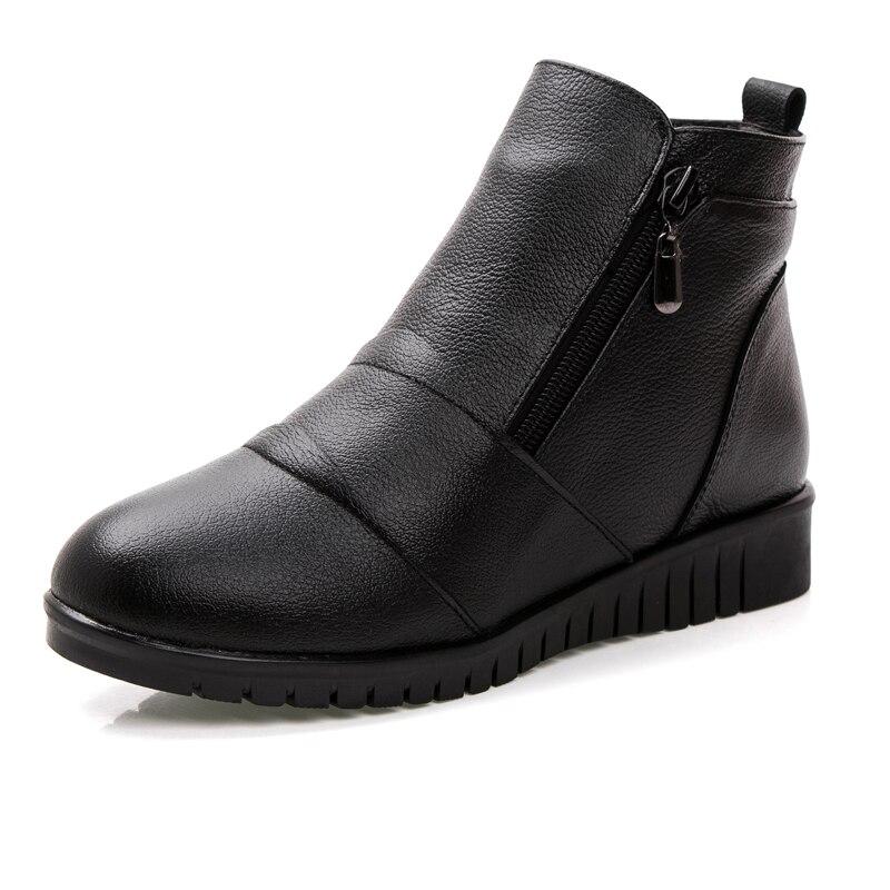 Zapatos Botas Black Moda Plana 41 Zzpohe Ocasionales Cuero Cuñas Tamaño  brown Invierno Auténtico Mujer Botines De Femeninos Mujeres Caliente 35  Nieve ... eca6b542f911
