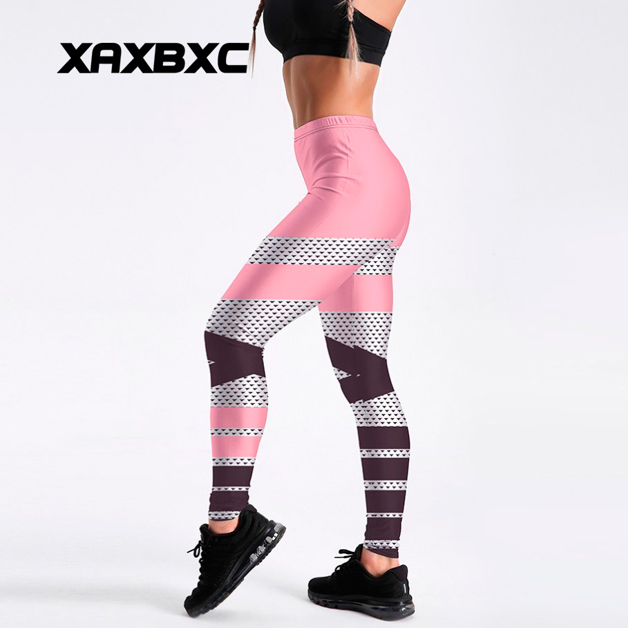 XAXBXC 4006 Sexy Girl Pencil Pant New Patchwork Pink Simple Lines Prints Elastic Slim Fitness Workout Women Leggings Plus Size