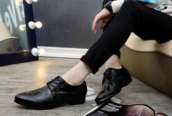 oxford shoes for men patent leather gold silver black wedding dress formal shoes mens pointed Wave point shoes zapatillas hombre