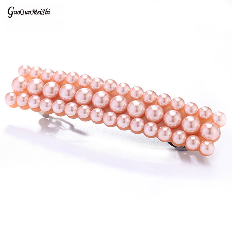 New Fashion wholesale Acrylic Pearls Wedding Bridal Hair Accessories Jewelry Ornament Barrette Tiara Pin Clips for Women Female