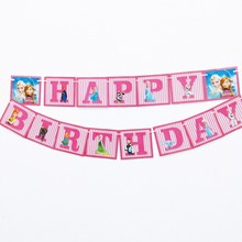 1pc/set Anna And Elsa Party  Pennant Bunting Birthday Flag Banners Kids Cartoon Supplies Decoration flag