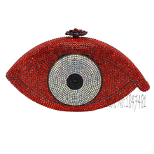 Red Women Clutch Bag Crystal eye Lady Clutches Elegant Shinny Rhinestones Evening Diamond Bags Wedding Purses Wholesale SC023