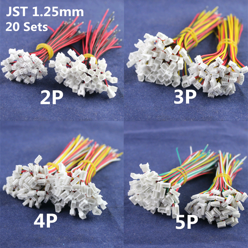 20 Sets 28AWG Wire Small JST1.25mm Connector Plug Cable Male