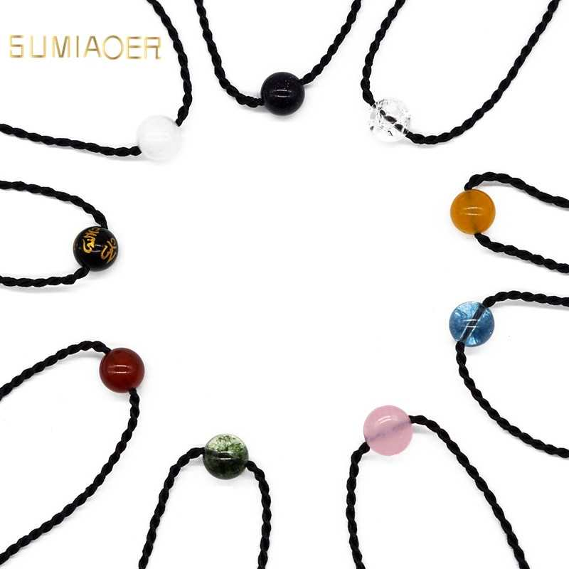 Sumiaoer moda naszyjniki 2019 kamień naszyjnik z koralików naszyjnik kobiety mężczyźni czarny naszyjnik na lince biżuteria Choker