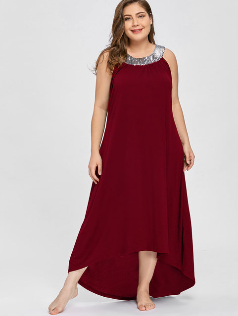 1290fe83dc895 Wipalo Plus Size 5XL Sequin Collar Sleeveless Long Maxi Dress Women  Clothing Sexy Black Elegant Evening Party Dress Boho Beach