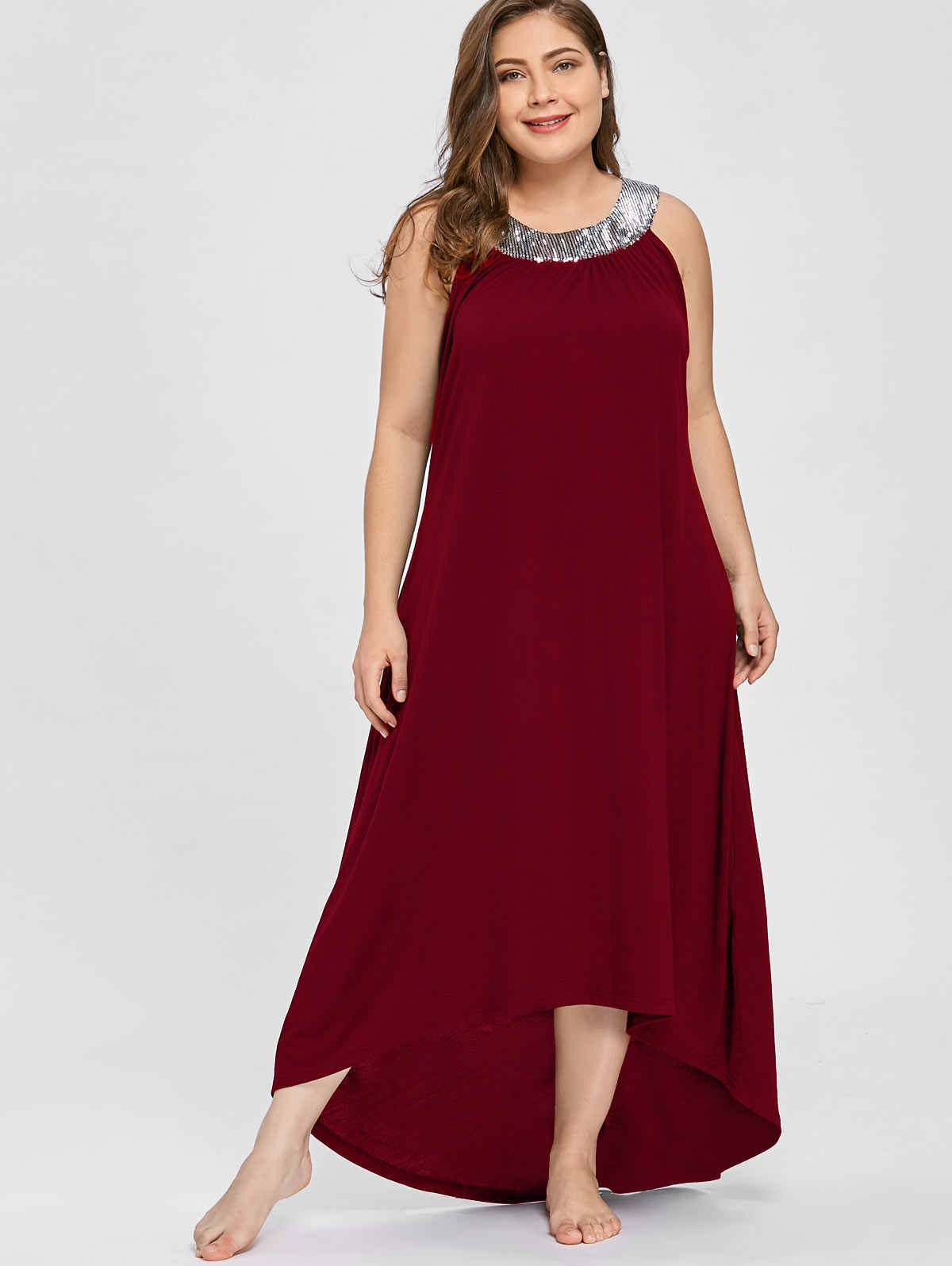 Wisalo/большие размеры 5XL, длинное платье макси без рукавов с блестками и воротником, женская одежда, сексуальное черное элегантное вечернее платье, Boho, Пляжное Платье