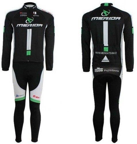 ФОТО 2010 MERIDA black cycling racing Team wear Winter Thermal Fleeced Long Sleeve Jersey & Z123 set Bike cycle Clothes tights