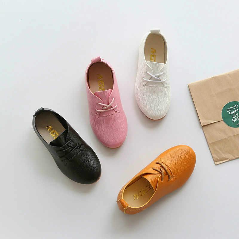 c2af7d3c8 Детская обувь Горячая Новинка весны и осень детская кожаная обувь для  мальчиков и девочек повседневная обувь