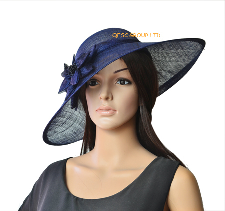Large Sinamay Hat Fascinator Disc Saucer With Flower Length 45cm Blush Pink Black Navy Blue Royal In Hair Accessories From Women S