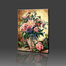 Noble Coloring by Numbers Flower Oil Painting on Canvas Wall Lovely DIY Digital Decorative Pictures