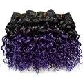 6 Pcs Muito 7a Grau 1b Feixes de Cabelo Humano Ombre Roxo Kinky Curly Brasileiro Virgem Cabelo Tece Profundas Extensões de Cabelo Encaracolado Ombre