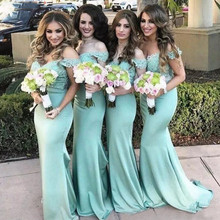 Lace Mermaid Bridesmaid Dresses 2019 Off the Shoulder Mint Lace Top Maid Of Honor Gowns Summer Beach Wedding Guest Dresses contrast lace open the shoulder top