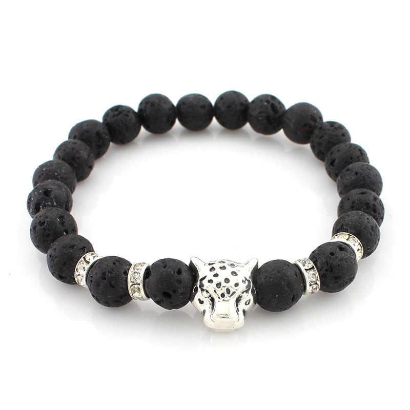 Cabeça de leopardo Charme Homens Lava Cura Contas Buddha Reiki Pedra Natural Yoga Equilíbrio Pulseiras & Pulseiras Para Mulheres