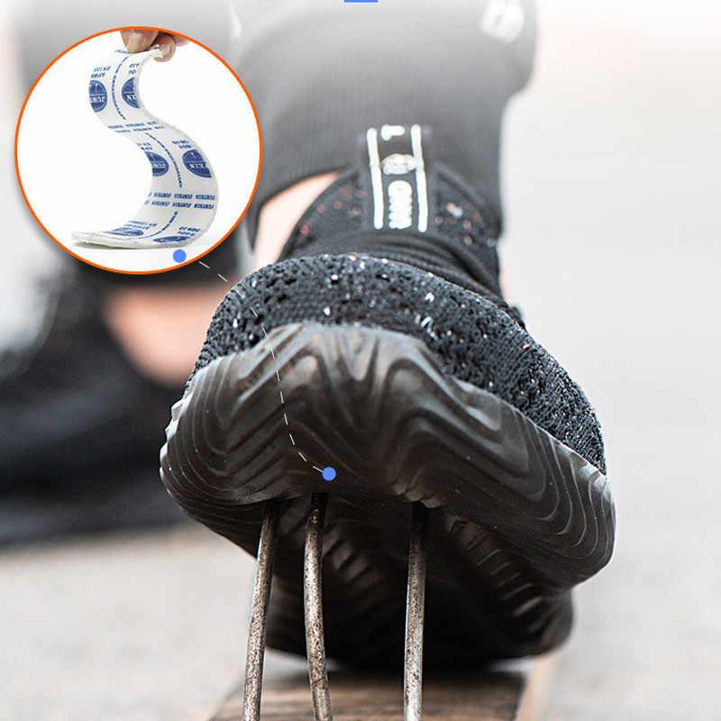 VAUSKY yıkılmaz erkek güvenlik ayakkabıları hafif nefes renkli büyük örgü spor ayakkabı önlemek için delikli koruyucu