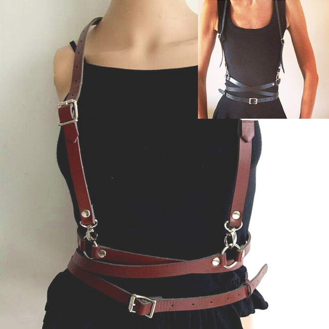 a3851beb2 Punk Leather Body Bondage Cage Sculpting Harness Waist Belt Straps  Suspenders Belt Bound band Personalized harness