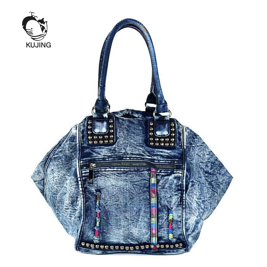 KUJING Fashion Handbags High Quality Denim Women Handbags Hot Luxury Women Shoulder Bag Hit Color Denim Travel Leisure Women Bag