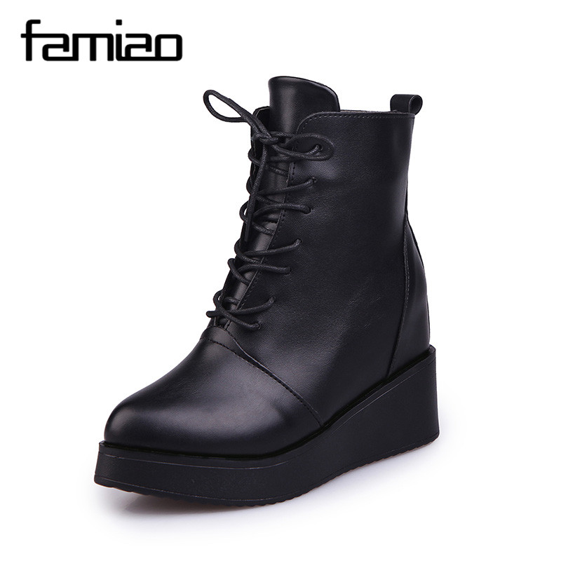 FAMIAO 2017 Women Platform Ankle Boots Fashion Vintage Genuine Leather Shoes Female Spring Autumn  Woman Lace Up Casual Boots front lace up casual ankle boots autumn vintage brown new booties flat genuine leather suede shoes round toe fall female fashion
