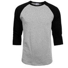2018 New Fashion T Shirt Men Design O-Neck T-shirt Men's Casual 100% Cotton 3/4 Sleeve Tshirt Hot Sale Raglan Jersey Shirt Man