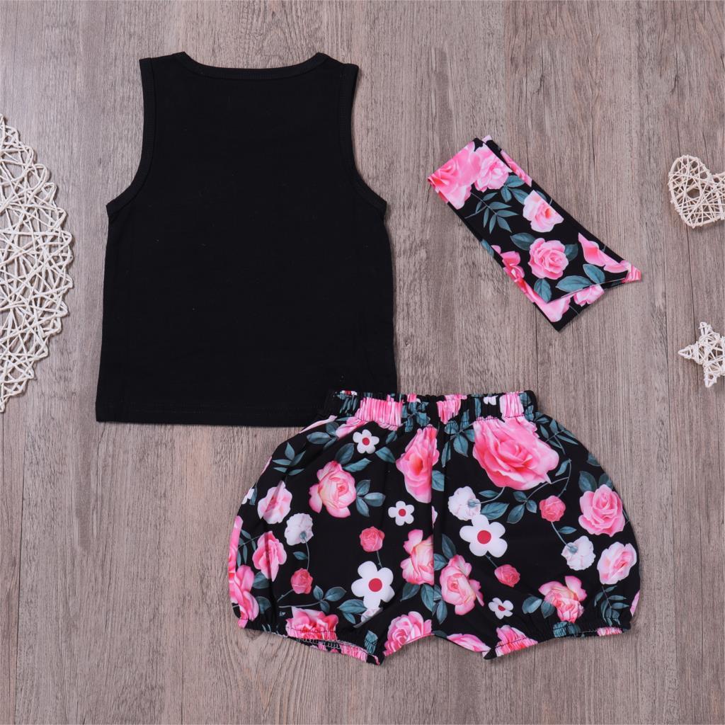 HOT SALE Baby Girl Clothes 3pcs Clothing Sets Black Cotton letter vest + floral pants with Headband summer Newborn Clothes