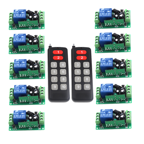 New 2Transmitters & 10 Receivers 1 Channel Wireless Relay Remote Control Switch RF 315/433MHZ Free Shipping