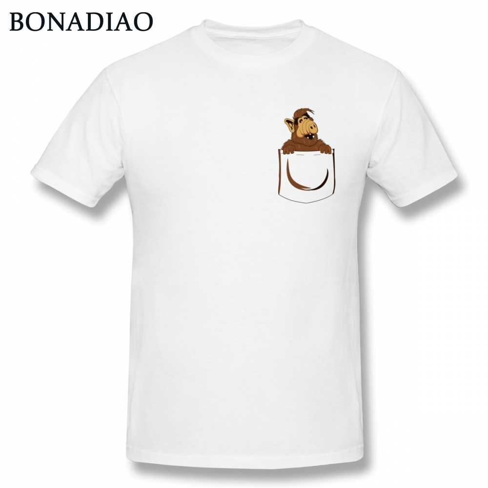 8d270552e66 Funny Alf Pocket T shirt Men Hipster Stylish Pure Cotton Unique Design  Alien Life Form Tee
