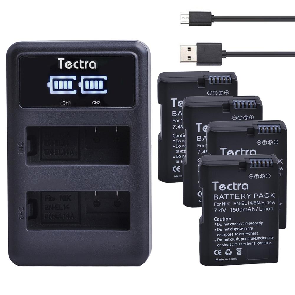 Tectra 4pcs EN-EL14 EN-EL14a Battery+LED Display USB Dual Charger for Nikon COOLPIX P7000 P7700 P7800 D3100 D3200 D3300 D5100 сумка для видеокамеры other pu nikon coolpix p7700 p7800 cam b112