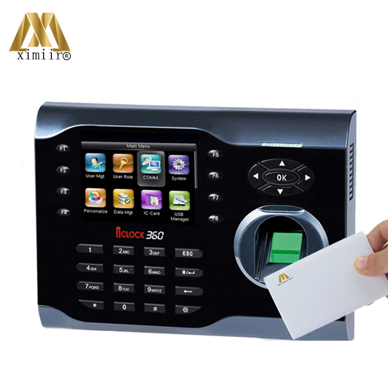 Hot Sale Linux System Iclock360 Card Time Clock 13.56MHz 3.5inches TFT Screen TCP/IP Employee Fingerprint Time Attendance