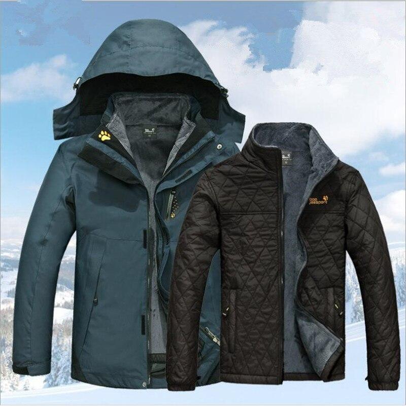Campeggio invernale Caldo Lungo Cappotto Impermeabile Sci Snowboard Pesca 3in1 Uomini Escursioni Outdoor Giacca Sportiva Antivento Jaqueta Feminina