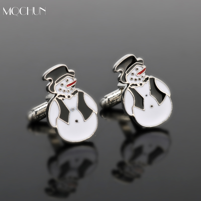 MQCHUN Jewelry New Arrival Fashion Cuff Links Novelty Snowman Design Best Christmas Gift Cuff Button For Men Party Wedding Gift