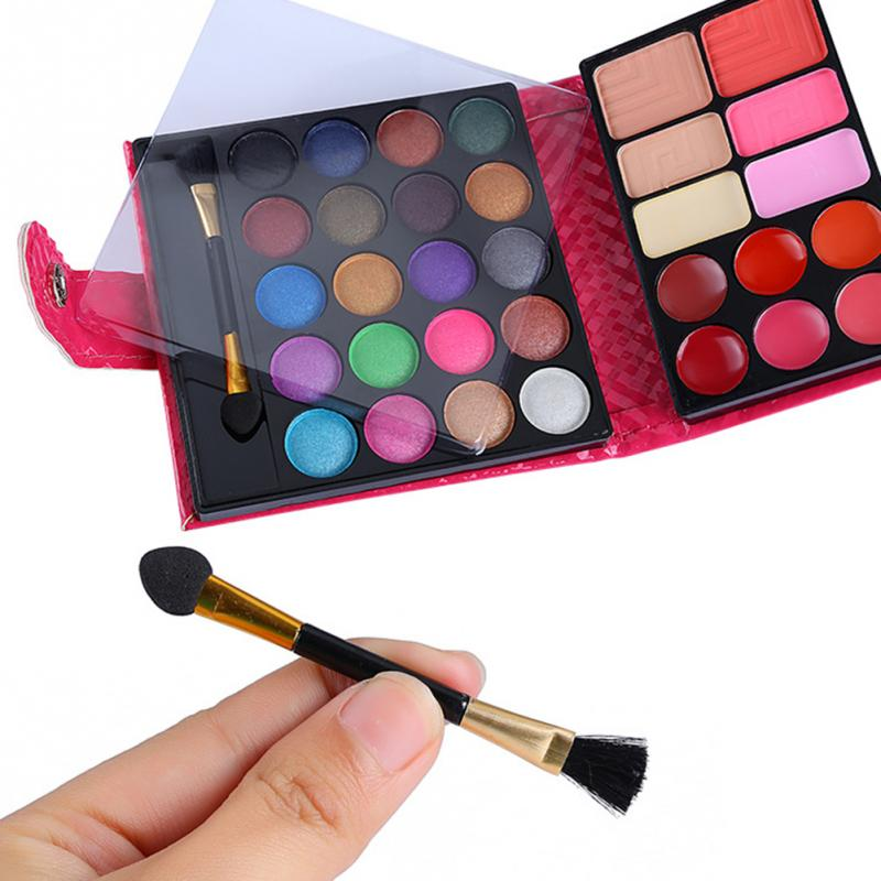 Image 3 - Cosmetics Shimmer Pearl Eyeshadow Palette Natural 32 Colors Makeup Up Modification Lip Gloss Blush Set Brush Button Bag-in Makeup Sets from Beauty & Health