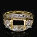 De la vendimia de Talla Esmeralda Anillo de Montaje Semi 5x7mm Sólido 18Kt Oro Amarillo Diamante Anillo de Selección WU162