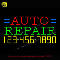 Auto Repair With Phone Number Neon Sign Neon Bulb Coors Light Neon Decorate Glass Tube Handcrafted
